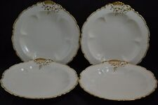 CA Limoges Set of 4 Oyster Clam Handled Bowl Double Gold