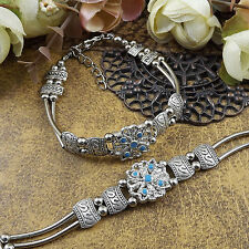 free shipping NEW DIY Tibetan silver Blue fashion beaded bracelet  S173D