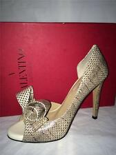 Valentino Couture Bow D'Orsay Open Toe Snake Leather Pumps Heels Shoes 37 $1345