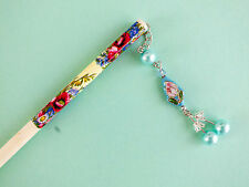 JAPANESE WOMEN LIGHT BLUE CLOISONNÉ RED FLOWER CHOPSTICK HAIR STICK CHINESE A3