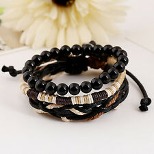Men's 3Pcs Punk Style Bracelet Wood Beads Knitted Leather Wax Rope Cuff Inviting