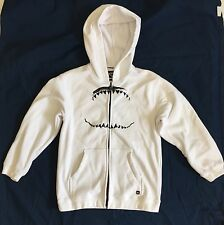 Boys White Quicksilver Hoodie With Black Shark Mouth Graphic Sz M GUC