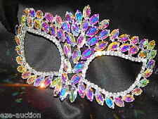 Silver Marquise,Round AB Iridescent Rhinestone Masquerade Mask Mardi Gras Party