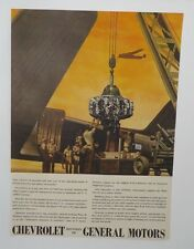 Original Print Ad 1944 Chevrolet General Motors Vintage Artwork Engine