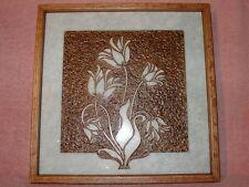 Handmade Art Sandblast wall Hanging Flowers  Verde Green Marble Oak Frame LOOK
