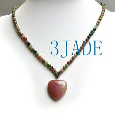"""16"""" Natural Multi-color Moss Agate Heart Pendant Beads Necklace"""