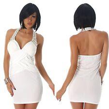 Damen Mini Kleid Cocktailkleid Partykleid Neckholder Strass, weiß, S/M, 38/40