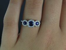 $1,400 Effy Gemma 14K White Gold Blue Round Oval Sapphire Diamond Ring Band
