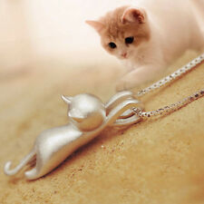 Fashion Women Girl Silver plated Little Cat Kitty Pendant &Chain Necklaces gifts