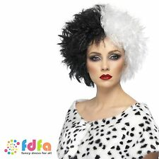 BLACK & WHITE EVIL CRUELLA DE VILLE WIG DALMATIANS - womens ladies fancy dress