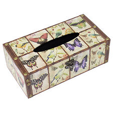 Butterfly Tissue Box Cover Rectangular Holder Natural Wooden Shabby Chic Vintage