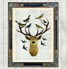 Stag Deer with Birds Dictionary Art Print Picture Vintage Unusual Quirky Gift