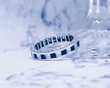 3.50 Ct. HandCrafted Natural Princess Channel/Pave Blue Sapphire Eternity Ring