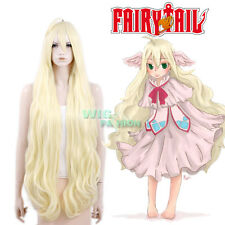 Fairy Tail Mavis Vermilion Long Curly Light Blonde Anime Cosplay Hair Wig