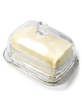 "7"" Clear Glass Large Rectangular Covered Butter Dish"