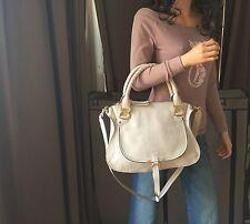 Authentic CHLOE Marcie Light Beige Leather Medium Shoulder Handbag