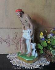 "Lovely 11.5"" ST. LAZARUS ON CRUTCHES W/DOGS STATUE Plaster/Chalkware **ITALY**"
