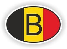 B BELGIQUE Autocollant OVAL avec drapeau belge Voiture Caravane Pare-choc casque
