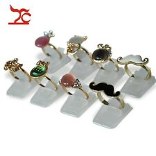 White Plastic 50pcs/Lot Wholesale Finger Ring Holder Jewelry Display Stand Case