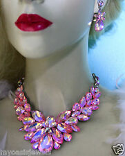 AB Pink Rhinestone Crystal Choker Statement Necklace Earring Set Pageant Prom