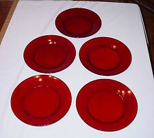 """Anchor Hocking Royal Ruby Red 9"""" Dinner Plates Lot/5 R1700"""
