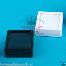 24pcs White & Black Square Gems Storage Cases Glass Top Gemstone Display Box