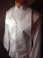 Mens Adjustable Shiny White Diamond XXL 2XL Perry Ellis Tuxedo Vest
