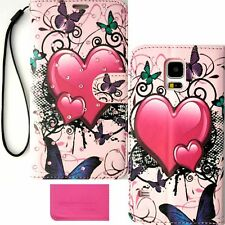 Butterfly Heart Bling Wallet Purse PU Leather Case Samsung Galaxy S5