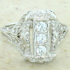 ART DECO ANTIQUE STYLE 925 STERLING SILVER CZ RING SIZE 4.75,               #699