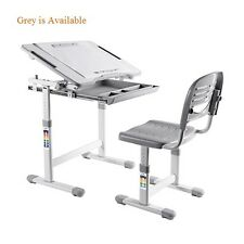 B203 Healthy Ergo Study Desk & Chair Set Grey w/Paper Roll Holder, H-Adjustable