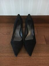 New NINE WEST 10 M Pointed Black Suede Kitten Heels Shoes