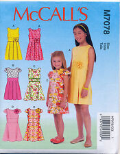 ©2015 MCCALL'S SEWING PATTERN 7078 GIRLS 3-6 DRESSES W/ A-LINE OR PLEATED SKIRTS