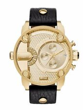 Diesel DZ7363 Men's Daddies Chronograph Watch Gold Dial Black Strap