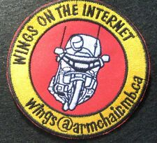 "WINGS ON THE INTERNET SEW ON ONLY PATCH BIKE MOTORCYCLE TOURING  3 3/4"" round"