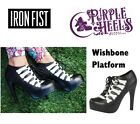 Iron Fist Wishbone Black Skeletal Platform Booties Spring16 UK4-8/EU37-41