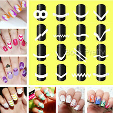 16Sheets French Manicure Nail Tip Guides Stickers Strip Nail Art Decoration Tool