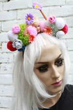 BARBIE CROWN POM POM FLORAL KAWAII LOLITA PASTEL GOTH ALICE BAND FESTIVAL