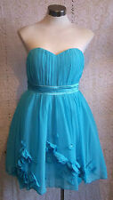 Gorgeous TURQUOISE COCKTAIL DRESS Dress size14 flouncynet undrskirtsknee length