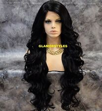 "40"" Long Wavy Layered Jet Black Full Lace Front Wig Heat Ok Hair piece #1 NWT"