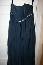 Impression bridal wedding bridesmaid prom dress navy silver strapless 16 18