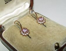 WONDERFUL, ANTIQUE, 14 CT GOLD DORMEUSES EARRINGS WITH TOURMALINE AND OLD PASTE