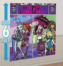 MONSTER HIGH dolls Scene Setter HAPPY BIRTHDAY party wall decoration kit over 6'