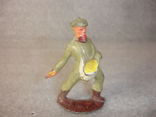 Old Vtg Antique Lead Toy Figure  Man Walking Feeding Birds or chickens Bag USA