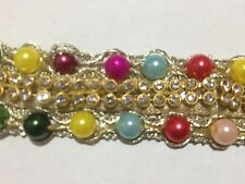 Indian mutli pearl beads on gold lace 1 yards