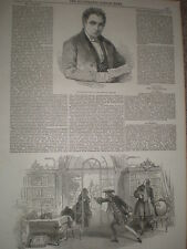 The late Mr Bartley of the Princess Theatre 1853 old print and article ref T