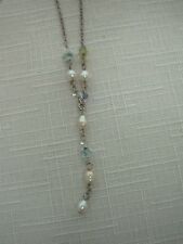 STERLING SILVER CHAIN NECKLACE with DAINTY PEARL GLASS BEAD DROP ~ 14""