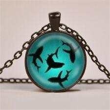 HOT Vintage Shark Cabochon Bronze Glass Chain Pendant Necklace #2