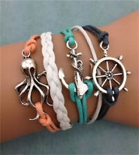 NEW Infinity Love Octopus Round Leather Charm Bracelet plated Silver DIY