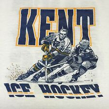 Vintage Kent State University Ice Hockey T-Shirt 2-sided Rink Skate Goalie Puck