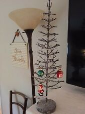 Star of Wonders Metal & Glitter Snow Christmas Ornament Holiday Feather Tree 20""